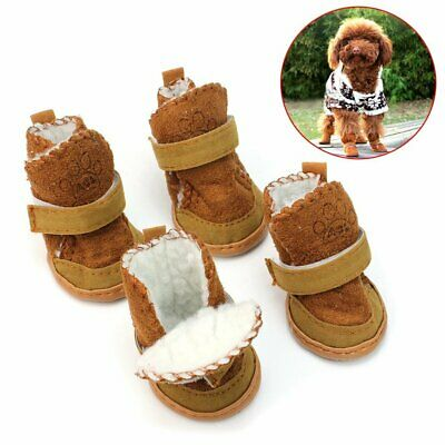 4pcs/set Small Dog Boots Anti-Slip Puppy Shoes Pet Dog Protective Snow Booties
