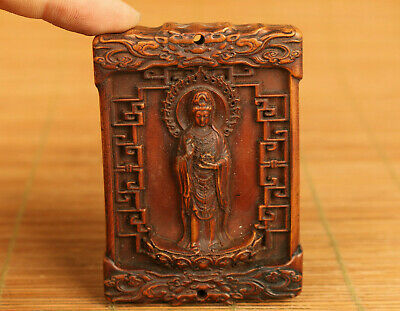 unique chinese old boxwood hand carved kwan-yin statue netsuke pendant