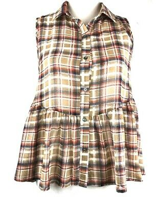Ya Los Angeles- Women's (M) Sleevless Red, White, Blue, Brown Plaid Blouse