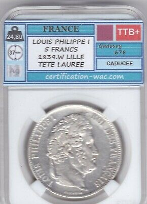 5 Francs Louis Philippe I 1839.W Lille
