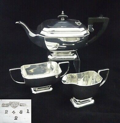 VINTAGE ENGLISH HARRISON FISHER & Co 3 PIECE TEASET SUGAR CREAMER SILVER PLATED