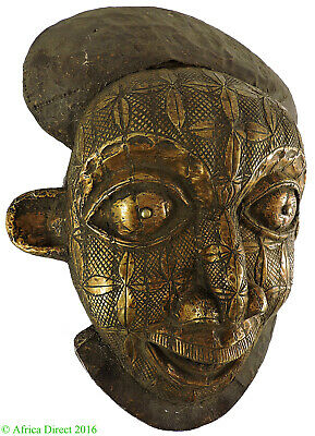 Bamun Mask Big Smile Brass Sheeting Cameroon African Art SALE WAS $450.00