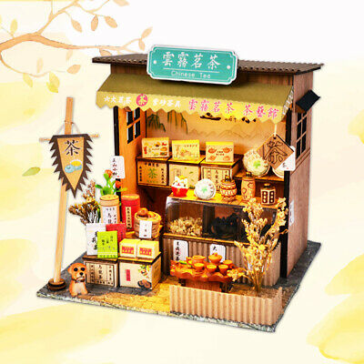 DIY Wooden Miniature Dollhouse Kits with Furniture, LED Light Teahouse Accs