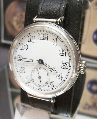 Antique 1918 Longines For Baume & Co Solid Silver Trench Watch Runs Moser Lugs