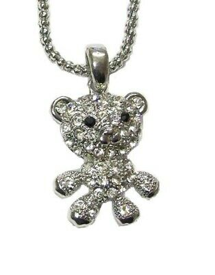 Silver Baby Teddy Bear Crystal Diamante Necklace Pendant Animal Jewellery Girls