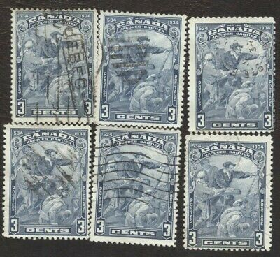 Stamps Canada # 208, 3¢, 1934, lot of 6 used stamps.