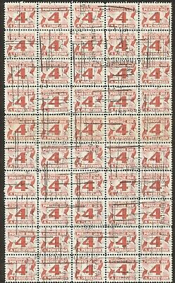 Stamps Canada # J31a, 4¢ 1973, 1 block of 50 used with gum stamps.