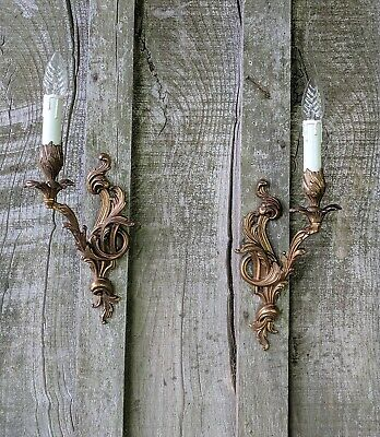 Divine Pair Of Vintage French Single Arm Brass Rococo Wall Lights