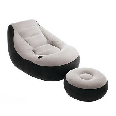 Intex 68564E Ultra Lounge Inflatable Chair with Cup Holder and Ottoman Set, Gray