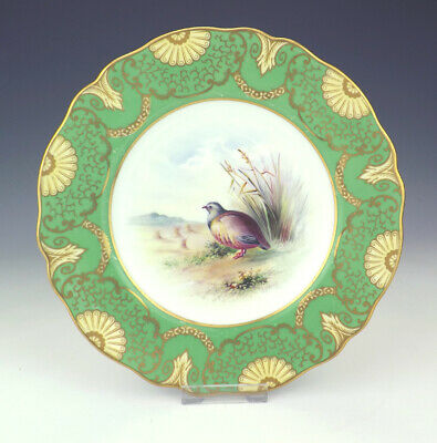 Antique Wedgwood Porcelain - Hand Painted Game Bird Plate - Artist Signed!