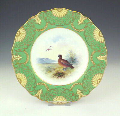 Antique Wedgwood Porcelain Hand Painted Grouse Game Bird Plate - Artist Signed!