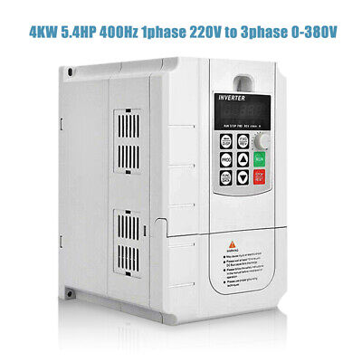 4KW 5.4HP 400Hz VFD Inverter Frequency Converter 1PHASE 220V to 3phase 0-380V
