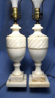 """Pair of 1950's Italian Carved Genuine Alabaster Neoclassical Urn Table Lamps 18"""""""