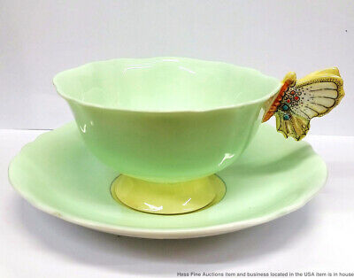 Vintage Paragon England Fine China G7898 Green Porcelain Butterfly Cup W Saucer
