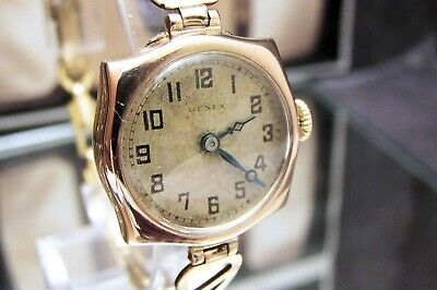 Antique 1926 V Rare Rolex Genex Solid Gold Art Deco Wrist Watch Spares / Repairs