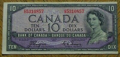 Rare Error 1954 Canadian Bank Note $10 Coyne Towers Devil's Face Offset