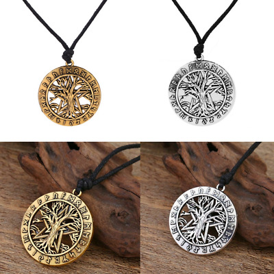 Viking Rune Men Celtic Tree of Life Pendant Necklace Stainless Steel Gold Silver