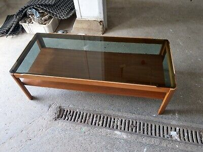 Retro Vintage Stunning Myer Large Teak & Smoked Glass Coffee Table With Shelf