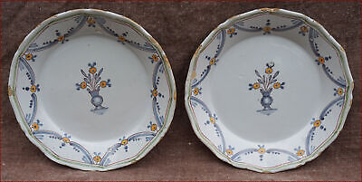 Nevers French Hand Painted Faience Pair Plates Grisaille Floral Decor Revolution