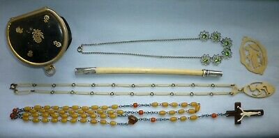 Unusual carved bone necklace pendants pencil silver cheroot holder? leather box