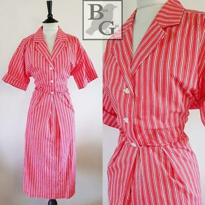 White Striped 1980S Vintage Red Cotton Shirtwaister Indie Emo Dress 16 L