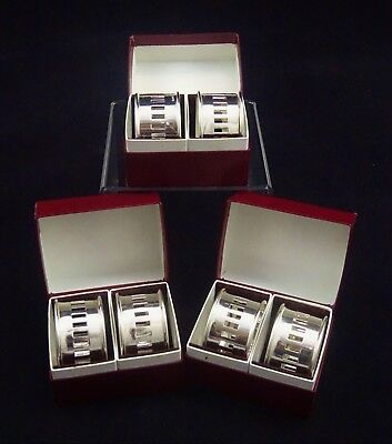 6 Boxed Vintage Napkin Rings English Silver Plated Mirror Finished Pierced Epns
