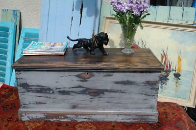Antique Victorian Pine Blanket Box Chest Trunk Rustic Chic Coffee Table Toy Box