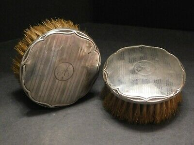 Pair Of Hasset & Harper 1925 Round Silver Clothes Brushes Monogrammed A