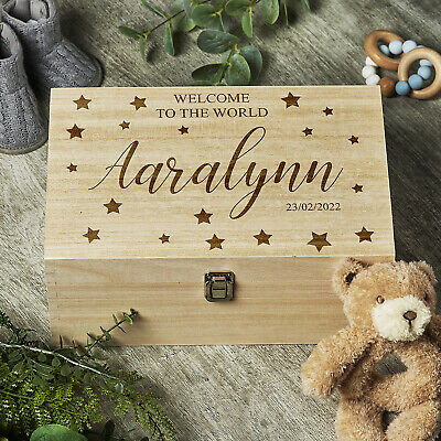 Personalised Large Baby Memories Keepsake Box Welcome To The World HB-95