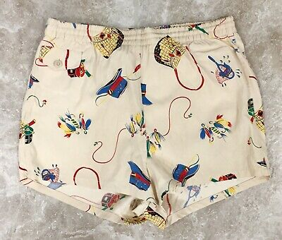 40s 50s McGREGOR SWIM N PLAY SHORTS TRUNKS USA SIZE 32 FISHING ROD NET HAT LURES