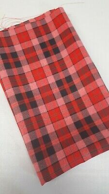 Polyviscose Tartan Fabric - Plaid check - 24 x 60 inches  Wide.