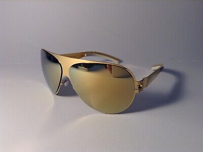 Mykita Sonnenbrille Aviator Sunglasses FRANZ F9 Gold with Blue Flash Lens