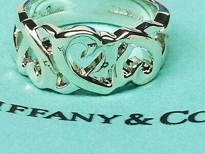 a367b0213 Tiffany & Co Sterling Silver Paloma Picasso Open Loving Heart Ring Band  Size 10