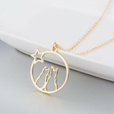 Fashion Women Charms Cat Animals Star Gold Necklaces Pendant Chain Jewlery Gift