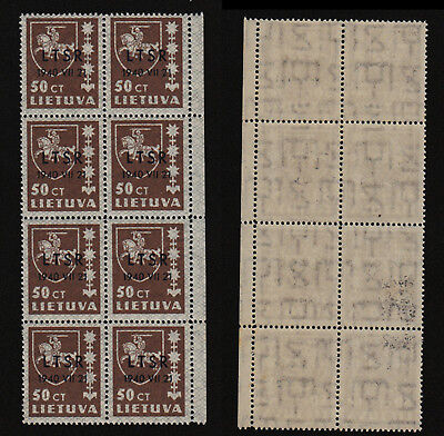 Lithuania 1940 SC 2N10 MNH wmk inverted block of 8 . b8884