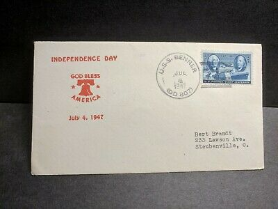 USS BENNER DD-807 Naval Cover 1947 INDEPENDENCE DAY Cachet