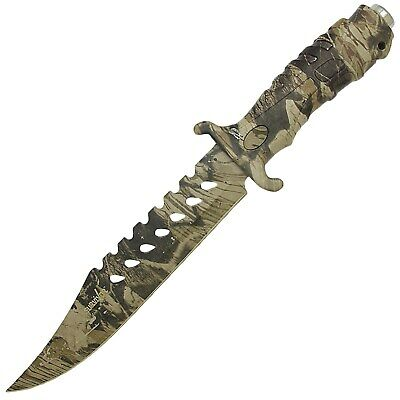 "13"" CAMO TACTICAL COMBAT BOWIE HUNTING KNIFE Survival Fixed Blade Military"
