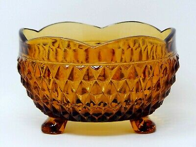 "Amber Yellow Depression Glass Footed Bowl 5"" Indiana Diamond Point Candy Dish"