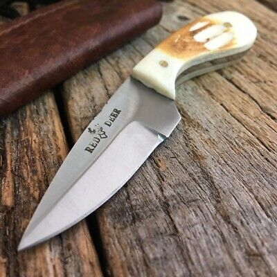 Burnt Bone Handle Fixed Blade Outdoor Hunting Bowie Skinner Knife Drop Point L