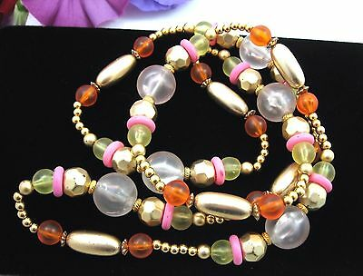 PINK ORANGE YELLOW & Goldtone BEADED Necklace Vintage Frosted Plastic Beads 36""