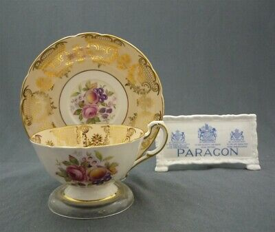 Paragon Bone China England Wide Bowl Gold Pink Roses Fruits Tea Cup & Saucer Duo