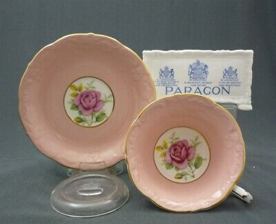 Huge Paragon England Bone China Pink & Gold PINK ROSES Tea Cup & Saucer Duo