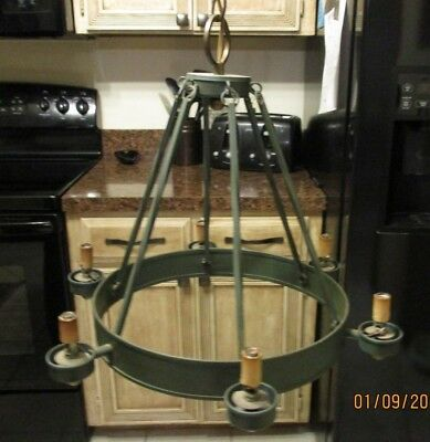 Vintage Wrought Iron Chandelier Hanging Lamp Industrial Ceiling Rustic Farmhouse