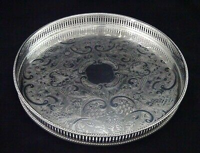 Vintage Round Cavalier Chased Pierced Gallery Butler Serving Tray Silver Plated