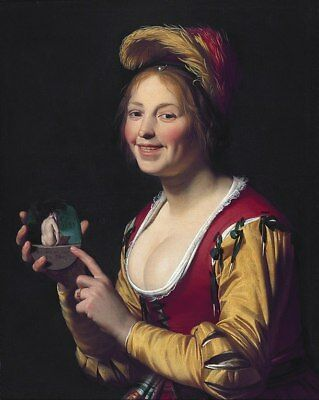 """oil painting  handpainted on canvas """"Smiling girl holding an obscene image """""""
