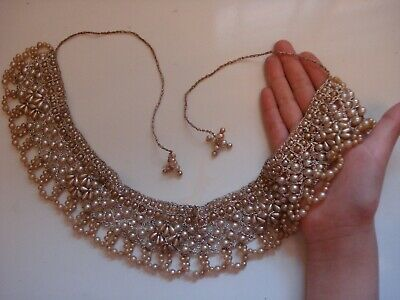 Rare Original UK Antique 1880's Victorian Pearl Bead Collar Necklace~Free Ship