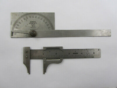 Vintage General Hardware No. 17 & 729 Steel Machinist Protractor & Slide Caliper