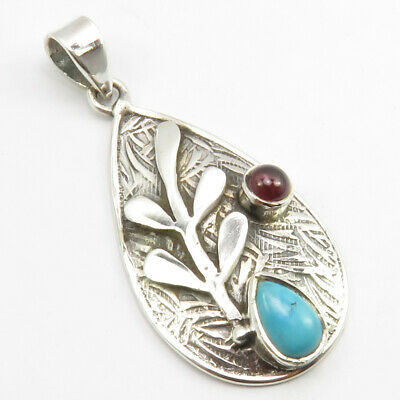 "925 Sterling Silver Drop, Oval Turquoise, Garnet Pendant 1.6"" Fashion Stone"