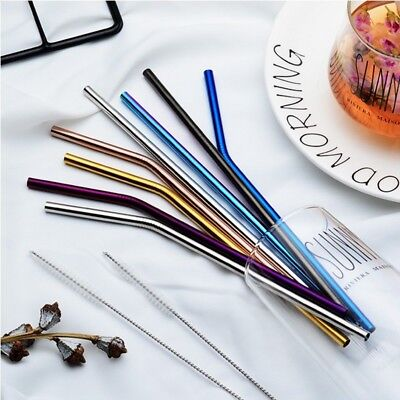 Stainless Steel Metal Drinking Straw Straight/Bent Reusable Washable +Brushes Ya