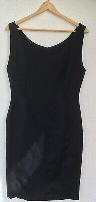 Vintage Droopy & Brown Angela Holmes Black Wool Shift Dress Wiggle Size 12 B3
